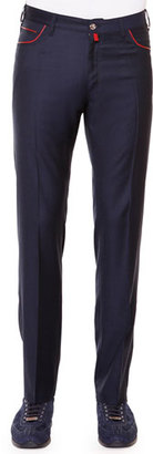 Stefano Ricci Flat-Front Sport Trousers, Navy $1,395 thestylecure.com