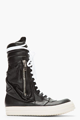 Rick Owens Black Tall Cargobasket Leather Sneaker Boots
