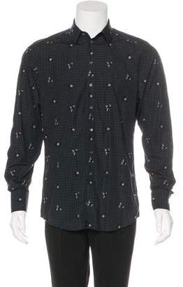 Dolce & Gabbana Floral-Embroidered Gingham Shirt