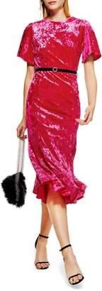 Topshop Velvet Midi Dress