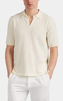 Eleventy Men's Cotton-Blend Bouclé Polo Shirt - Sand