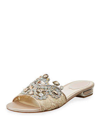 Rene Caovilla Embellished Flat Lace Slide Sandal