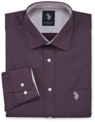 U.S. Polo Assn. USPA Uspa Dress Shirt Big And Tall Long Sleeve Dots Dress Shirt