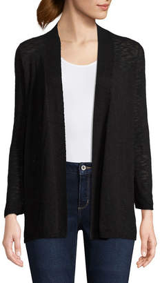 ST. JOHN'S BAY 3/4 Sleeve Open Front Cardigan