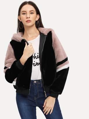 Shein Color-Block Faux Fur Hoodie Jacket