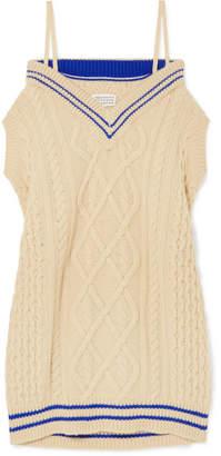 Maison Margiela Oversized Off-the-shoulder Cable-knit Wool-blend Midi Dress - Cream