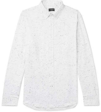 Club Monaco Slim-Fit Button-Down Collar Slub Cotton-Blend Flannel Shirt