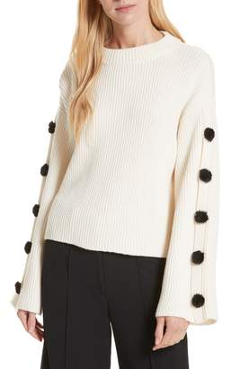 Milly Faux Fur Button Wool Sweater