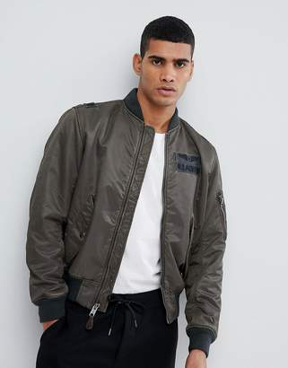 Polo Ralph Lauren Nylon Military Logo Bomber Jacket In Washed Green