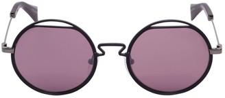 Yohji Yamamoto Round Metal Cutout Sunglasses