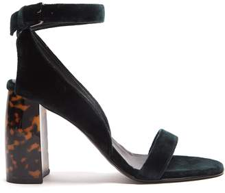 Block-heel velvet sandals