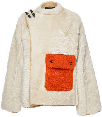 Joseph Asymmetric Teddy Jacket with Leather and Shearling