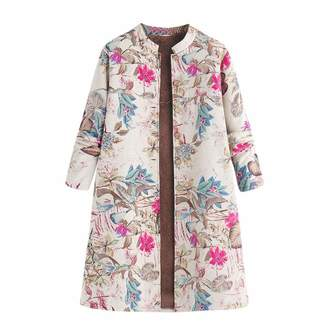Pervobs Women Coat&Jacket Pervobs Womens Winter Warm Outwear Vintage Floral Print Long Sleeve Button Down Long Coats Jacket Overcoat(M, )