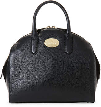 Roberto Cavalli Black Pebbled Leather Dome Satchel