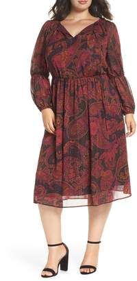Maggy London Double Puff Sleeve Midi Dress