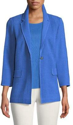 Misook Textured Button-Front Jacket