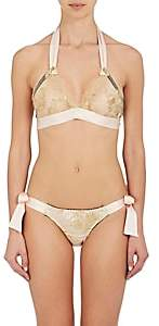 Gilda & Pearl Women's Harlow Lace Silk Satin Bralette - Blush/Gold Size M/L
