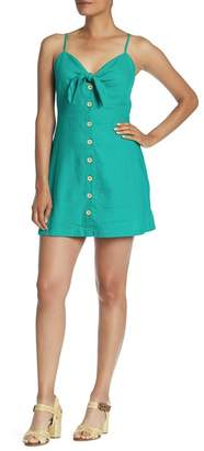 Lush Front Knot Button Down Dress