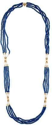 Lapis 14K Pearl & Lazuli Multistrand Necklace