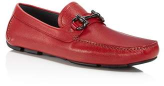 Salvatore Ferragamo Men's Parigi Double Gancini Bit Pebbled Leather Loafers