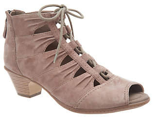 Earth Suede Lace-up Peep-toe Sandals - Aurora