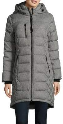 GUESS Zip Front Hooded Puffer Coat