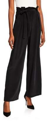L'Agence Bobby Silk Wide-Leg Paperbag Pants