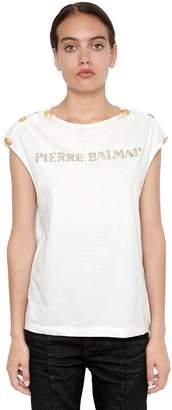 Pierre Balmain Metallic Logo Cotton Jersey T-Shirt