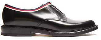 Gucci Web Trimmed Leather Derby Shoes - Mens - Black Multi