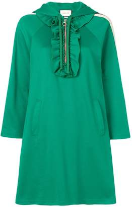 Gucci Three-Quarter Sleeve Hoodie Dress with Web Trim