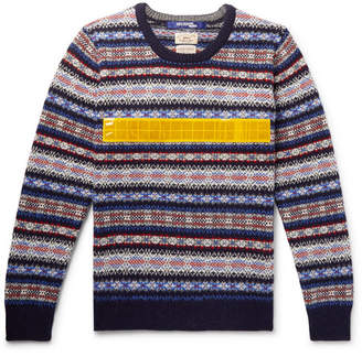Junya Watanabe Slim-Fit Vinyl-Trimmed Fair Isle Wool Sweater