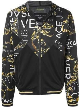 Versace logo print hooded jacket