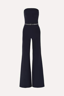 Safiyaa Crystal-embellished Stretch-crepe Jumpsuit - Navy