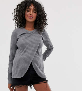 Asos DESIGN Nursing wrap jumper in fine knit