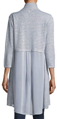Neiman Marcus Chiffon-Back Long Cardigan