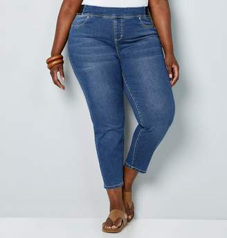 Avenue Plus Size Wanna Betta Butt Pull-On Ankle Length Jean In Medium Wash