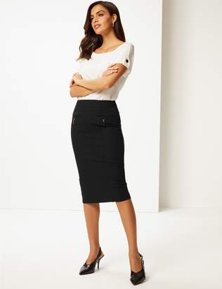 Marks and Spencer Cotton Rich Zip Detail Skirt