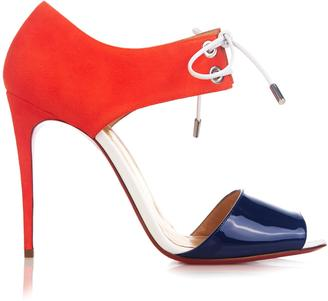 CHRISTIAN LOUBOUTIN Mayerling 100mm patent-leather and suede sandals $971 thestylecure.com