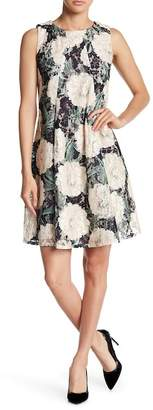 Gabby Skye Floral Printed Lace Trapeze Dress