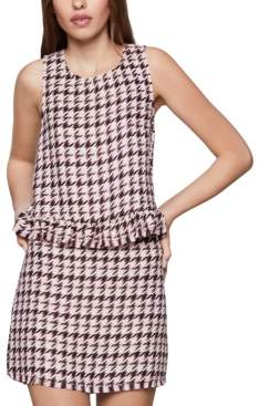 BCBGeneration Ruffled Houndstooth-Print Tank Top