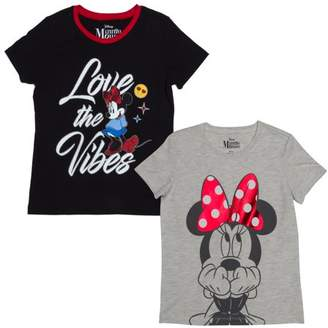 Minnie Mouse Love the Vibes and Big Bow Graphic T-Shirts, 2-Pack Set (Little Girls & Big Girls)