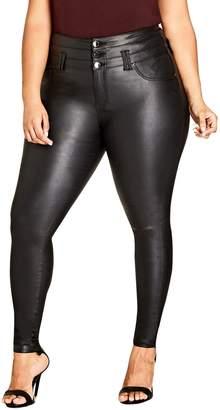 City Chic Skylar Coated Corset Super Stretch Skinny Jeans