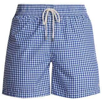 Polo Ralph Lauren Logo Embroidered Gingham Swim Shorts - Mens - Blue Multi