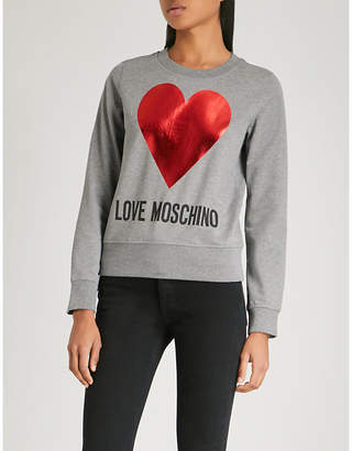 Love Moschino Heart love-print stretch-cotton sweatshirt