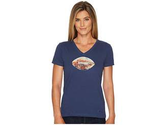 Life is Good Vintage Football Crusher Vee Women's Short Sleeve Pullover