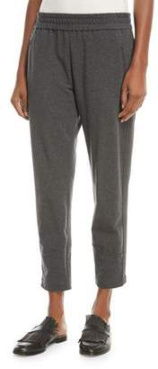 Brunello Cucinelli Cropped Cotton Jogger Pants with Monili Racing Stripes