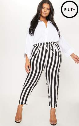 PrettyLittleThing Plus Black Striped Casual Trousers