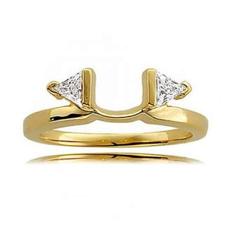 GEMaffair 14K Yellow Gold White Diamond 2-Stone Triangle Cut Ring Wrap - 0.25 cttw (H,SI3)