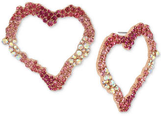 Betsey Johnson Rose Gold-Tone Pink Stone Heart Drop Hoop Earrings