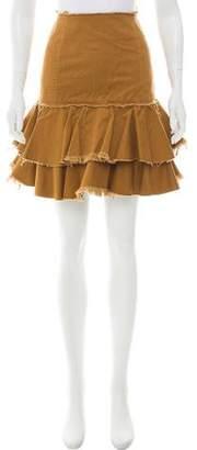 Karen Walker Tiered Knee-Length Skirt